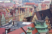 Roofs of tenement houses in Wroclaws town square, Poland — Stock Photo