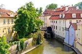 Water Mill on Vltava river in Prague, Czech Republic — Stock Photo