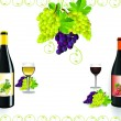 Vector de stock : Red wine and grapevine design