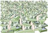 Folded hundred dollar bills isolated on white — Stock Vector