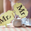 Mr & Mrs plate on the table — Stock Photo