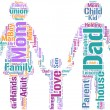 Family concept pictogram tag cloud — Stock fotografie