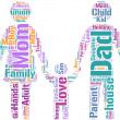 Family concept pictogram tag cloud — Stockfoto