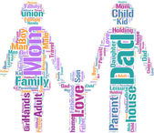 Family concept pictogram tag cloud — Stock Photo