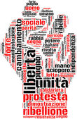 Pugno di protesta tagcloud — Stock Photo