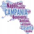 Campania tagcloud - regioni di Italia - Stock Photo