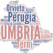 Umbria tag cloud - regioni di Italia — Stock Photo