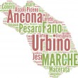 Marche tagcloud - regioni di Italia — Stock Photo