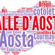 Valle D'Aosta tagcloud - regioni di Italia - Stock Photo
