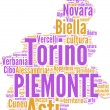 Piemonte tagcloud - regioni di Italia — Stock Photo