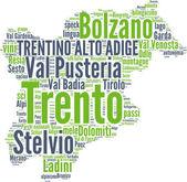 Trentino Alto Adige tagcloud - regioni di Italia — Stock Photo