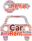 Car rental pictogram tag cloud illustration — Stock Photo