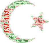 Islam symbol tagcloud illustration — Stock Photo