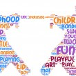 Tug of war pictogram - playing children tag cloud — Stock Photo