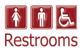 Restrooms sign — 图库照片