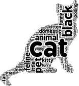 Black cat tag cloud — Stock Photo