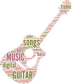 Classic guitar music tag cloud — Stock Photo