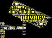 Security camera shaped tag cloud — Stock Photo