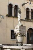 Ancient fountain in Belluno dedicated to Santa Maria dei Battuti — Stock Photo