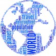 Stock Photo: World globe tag cloud illustration