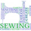Stock Photo: Sewing machine tag cloud illustration