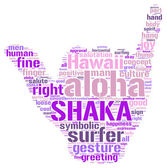 Aloha shaka gesture tag cloud illustration — Stock Photo