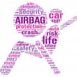 Air bag pictogram tag cloud illustration — Stock Photo