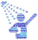 Ilustración de ducha símbolo pictográfico tag cloud — Foto de Stock