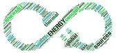 Limitless or renewable energy conceptual sign tag cloud — Stock Photo