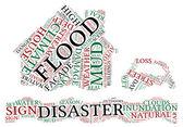 洪水概念象形图标签云图 — 图库照片