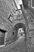 Old italian buildings in HDR - fisheye lens photo. — Stock Photo