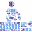 Spa massage pictogram tag cloud illustration — ストック写真