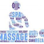 Spa massage pictogram tag cloud illustration — Stockfoto