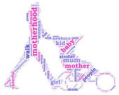 Young mother with stroller silhouette tag cloud illustration — Stock Photo
