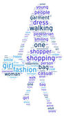 Silhouette of a walking woman tag cloud illustration — Stock Photo