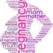 Pregnancy concept  tag cloud silhouette of a pregnant woman — Stok fotoğraf