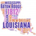 Louisiana USA state map vector tag cloud illustration — Cтоковый вектор