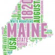 Maine USA state map vector tag cloud illustration — Stock Vector #38622615