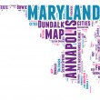 Maryland USA state map vector tag cloud illustration — Stock Vector
