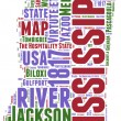 Mississippi USA state map vector tag cloud illustration — Vector de stock