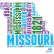 Missouri USA state map vector tag cloud illustration — Stock Vector