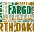 North Dakota USA state map vector tag cloud illustration — Stock Vector