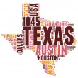 Texas USA state map tag cloud vector illustration — Stock Vector #38623713