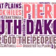 South Dakota USA state map tag cloud vector illustration — Stock Vector #38623721