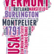 Vermont USA state map vector tag cloud illustration — Stock Vector