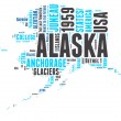 Stock Vector: AlaskUSstate map vector tag cloud illustration