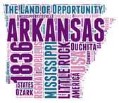 Arkansas USA state map vector tag cloud illustration — Stock vektor