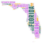 Florida USA state map vector tag cloud illustration — Stock Vector