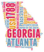 Georgia USA state map vector tag cloud illustration — Stock Vector