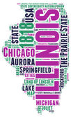 Illinois USA state map vector tag cloud illustration — Stock Vector